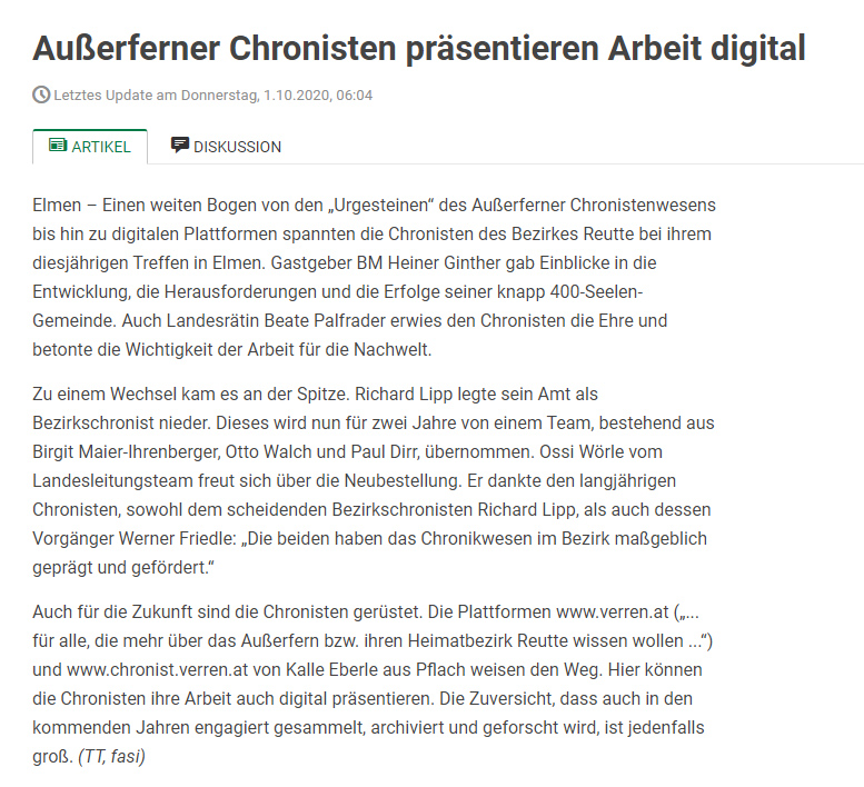 außerferner chronisten, beate palfrader, heiner ginther, elmen, chronisten-tag, chronistentag, bezirks-chronisten, digital, plattform, internet, zukunft, richard lipp, werner friedle